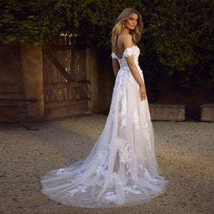 Off the Shoulder A Line  Wedding Gown