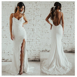 Spaghetti Straps Wedding Dress Side Split  Custom Made Backless Wedding Gown
