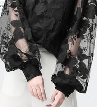 Load image into Gallery viewer, Jewel Neck Floral Illusion Overlay Blouse
