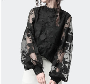 Jewel Neck Floral Illusion Overlay Blouse