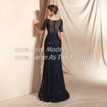 Load image into Gallery viewer, Long Black Beaded Lace Evening Dress