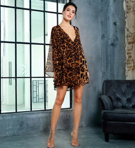 Deep V-Neck Open Back  Leopard Chiffon Dress