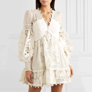 Solid White  Lace Dress