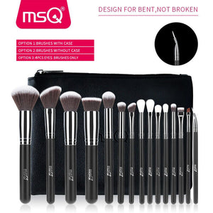 15pcs Makeup Brush Set  Soft Synthetic Hair With Leather Case
