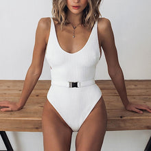 Load image into Gallery viewer, Ribbed Knit Scoop Neck One Piece Swimwear