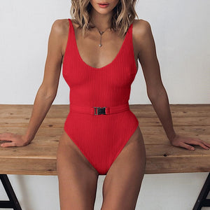 Ribbed Knit Scoop Neck One Piece Swimwear