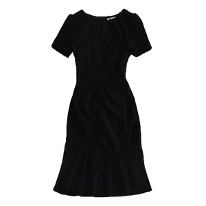Milan High Quality Jewel Neck Flounce Hem Dress