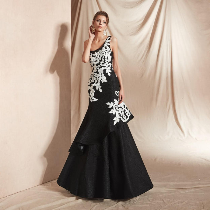 One shoulder Cascading Flounce Gown