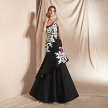 Load image into Gallery viewer, One shoulder Cascading Flounce Gown