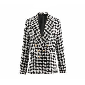 Cotton houndstooth Double Breasted Jacket