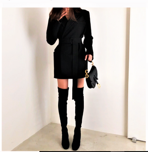 Italian runway wrap coat dress