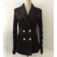 Load image into Gallery viewer, Diamond Button Double Breasted  Sleek Velvet Jacket