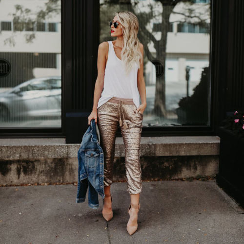 Drawstring  Sequin Pant