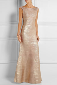 Golden Metallic Bandage Gown