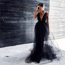 Load image into Gallery viewer, Deep V Neck Tulle Over Skirt Gown