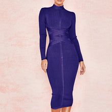 Load image into Gallery viewer, Midi Bandage  High Neck Long Sleeve  Dress