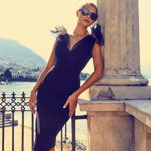 Black Bandage Dress with Gathered Tulle Accent Shoulders