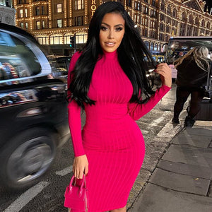 Mock Neck Long Sleeve Bandage Dress
