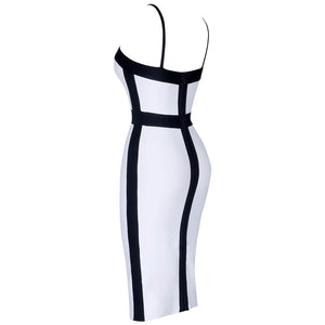 Stretch Slimming Black and White Spaghetti Strap Dress