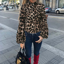 Load image into Gallery viewer, Leopard Print High Neck Lantern Sleeve Blouse