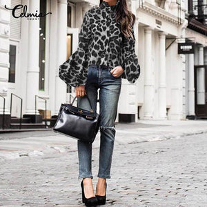 Leopard Print High Neck Lantern Sleeve Blouse