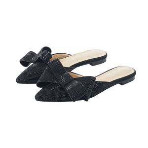 Stardust Rhinestone Pointed Toe Bow  Slippers ( Black or Champagne)