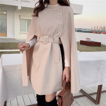 Load image into Gallery viewer, Belted Waist Loose Cape Coat