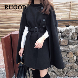 Belted Waist Loose Cape Coat