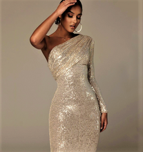 Load image into Gallery viewer, Sequins in Spring One Shoulder Dress..