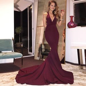 V Neck Backless Mermaid Gown