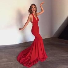 Load image into Gallery viewer, V Neck Backless Mermaid Gown