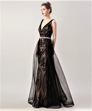 Load image into Gallery viewer, V-Neck Beaded Sequin Illusion Lace Mermaid Gown with Removable Over Skirt