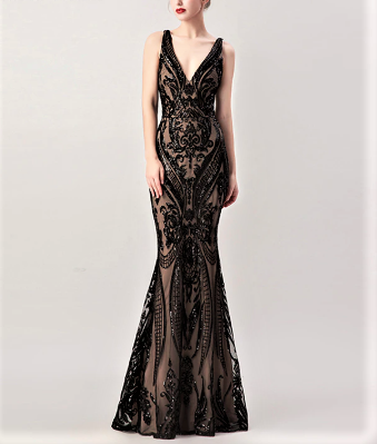 V-Neck Beaded Sequin Illusion Lace Mermaid Gown with Removable Over Skirt