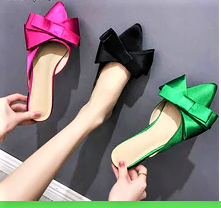 Silk  Satin Pointed Toe Bow  Slippers. Black