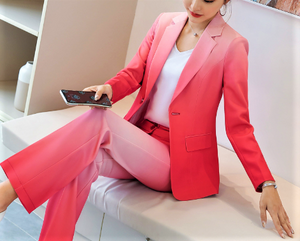 Ombre Single Breasted Pant Suit  Blue or Red