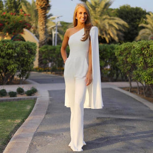 Navarra Italian one shoulder cape Jumpsuit