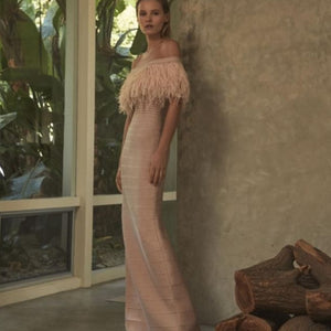 Elegant Off the Shoulder Long Bandage Gown with Feather Trim