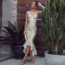 Load image into Gallery viewer, Gold Lace Runway Dress Strapless Dress