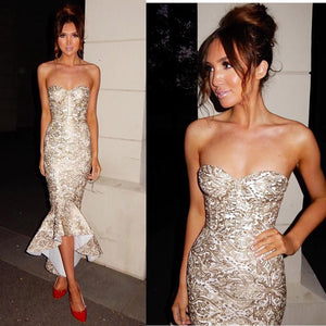 Gold Lace Runway Dress Strapless Dress