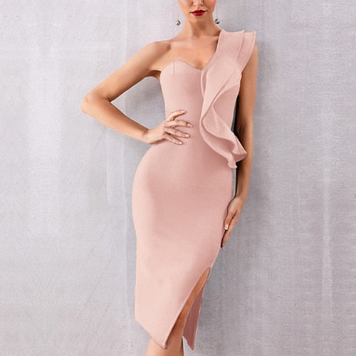 One Shoulder Flounce Dress