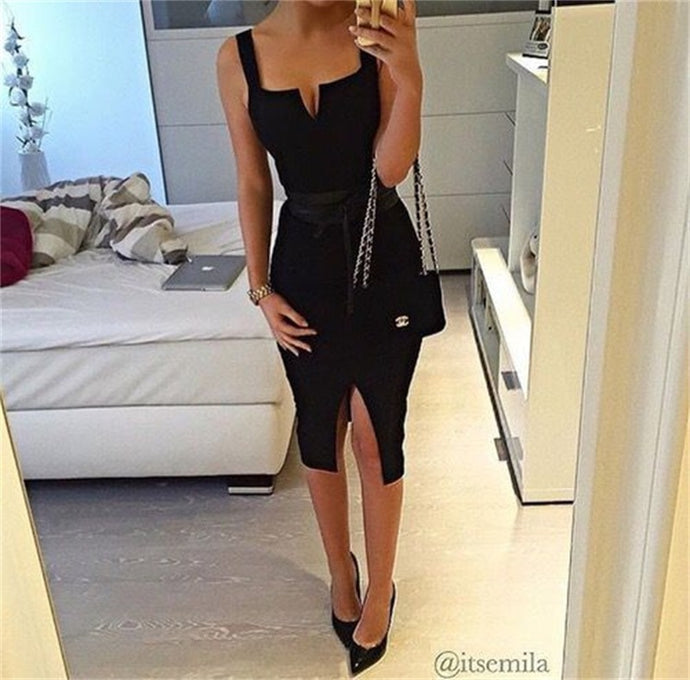 Sleeveless Spaghetti Strap Backless Split Sheath Dress