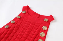 Load image into Gallery viewer, Halter Neck Sleeveless Red  Cable Knit Sweater Dress