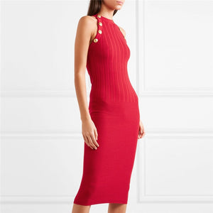 Halter Neck Sleeveless Red  Cable Knit Sweater Dress