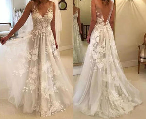 Long V Neck  WeddingGowns