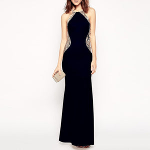 Sexy Womens Slim Fit Halter Sequins Sleeveless Evening Gown