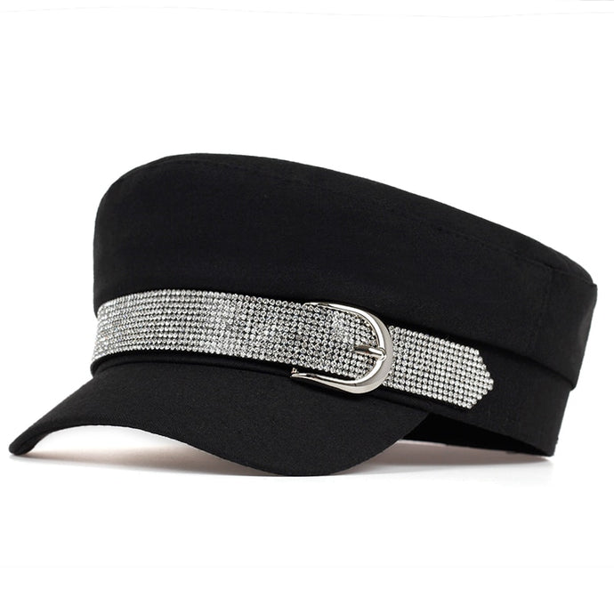 Beret with diamond buckle Newsboy Hat         Black Grey and Biege