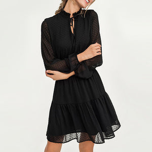 Black Summer Mini Dress Long Sleeve Elastic Waist