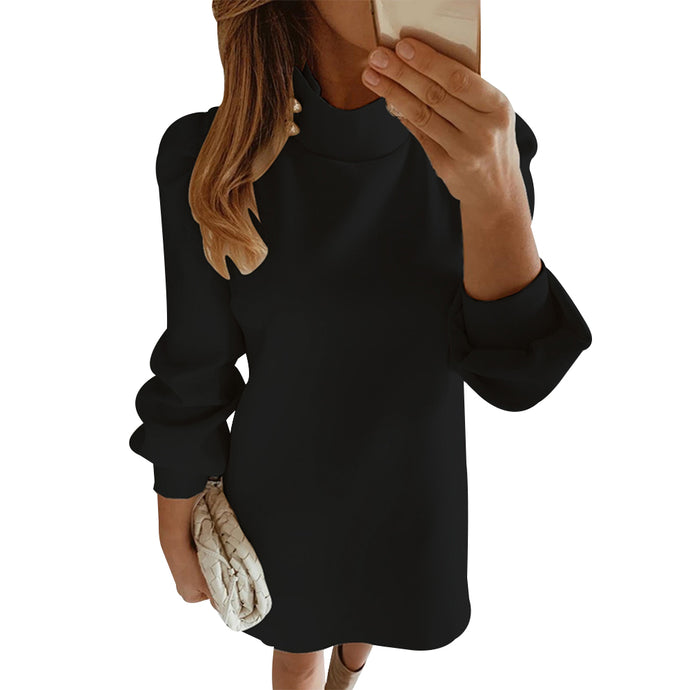 Elegant Button Mock Neck Collar Dress