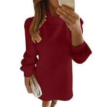 Load image into Gallery viewer, Elegant Button Mock Neck Collar Dress