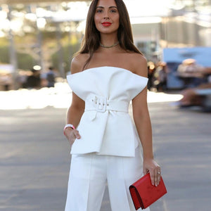 Strapless Belted Envelope Blouse